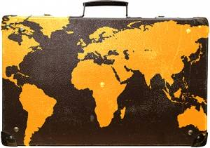 Suitcase with map of the world