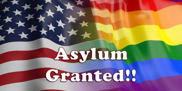 US and Gay Flags blended with the words ASYLUM GRANTED shown