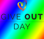 Give Out Day Logo on Rainbow Background