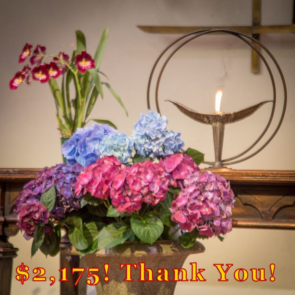 "Flowers in front of a Flaming Chalice with ""$2,175! Thank You!"" text"