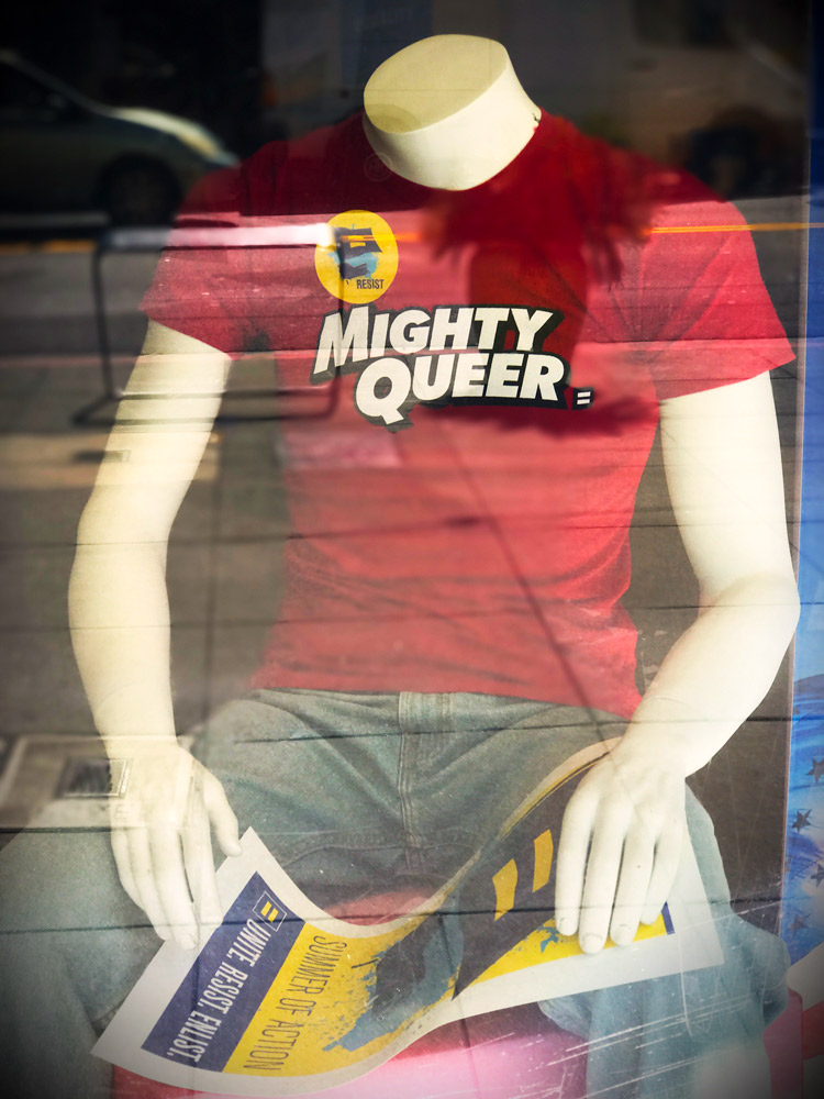 Mighty Queer T-shirt in HRC store window